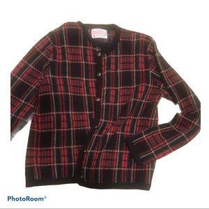 Vintage Plaid Pendleton Wool Cardigan Petite SzM